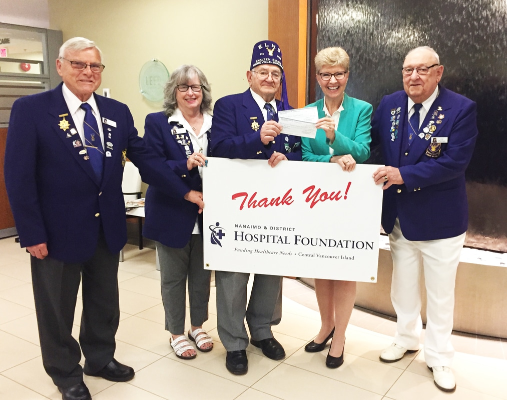 Parksville Qualicum Beach Elks Give to NRGH and Oceanside Health Centre