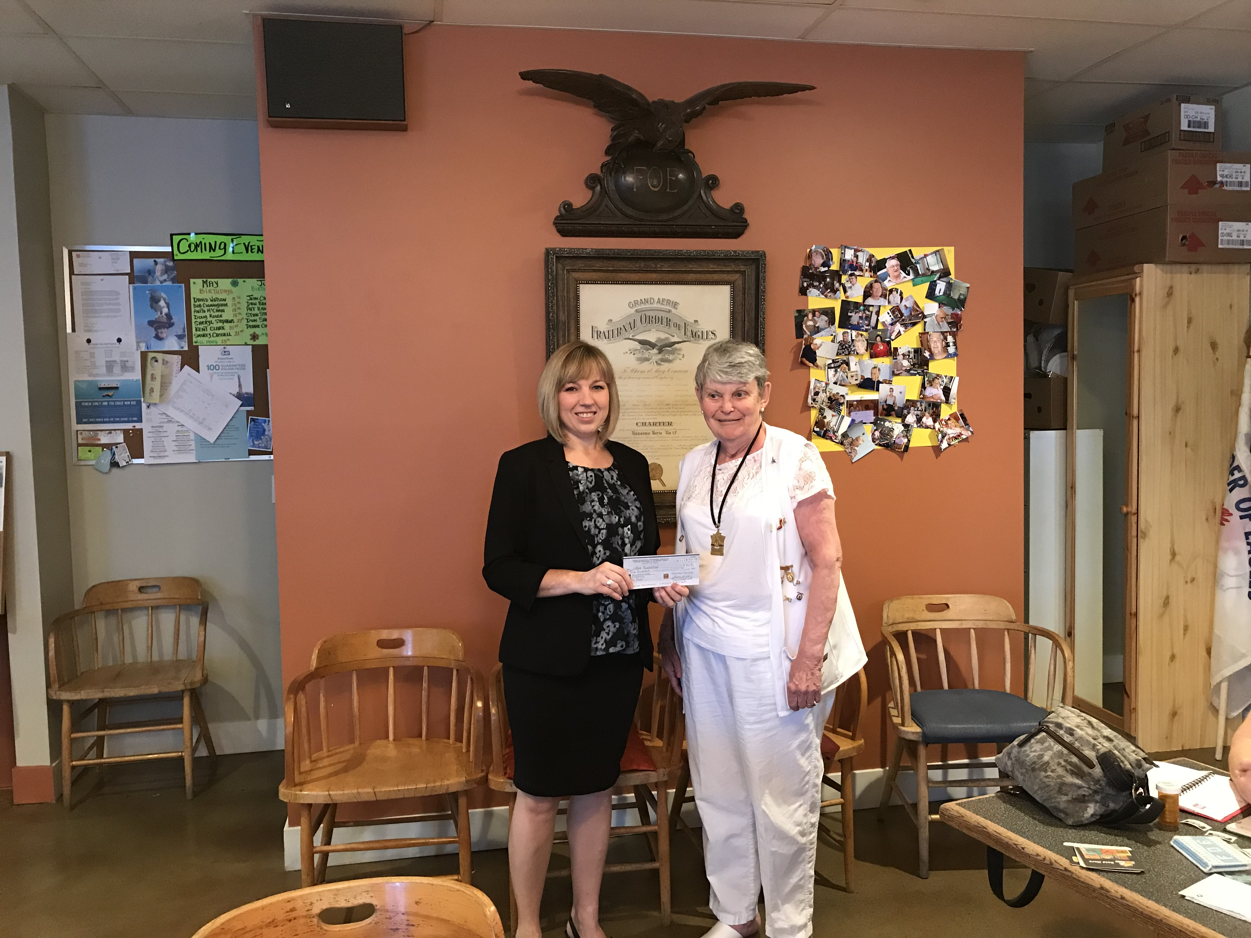 Ladies Auxiliary Fraternal Order of Eagles Nanaimo donate $500