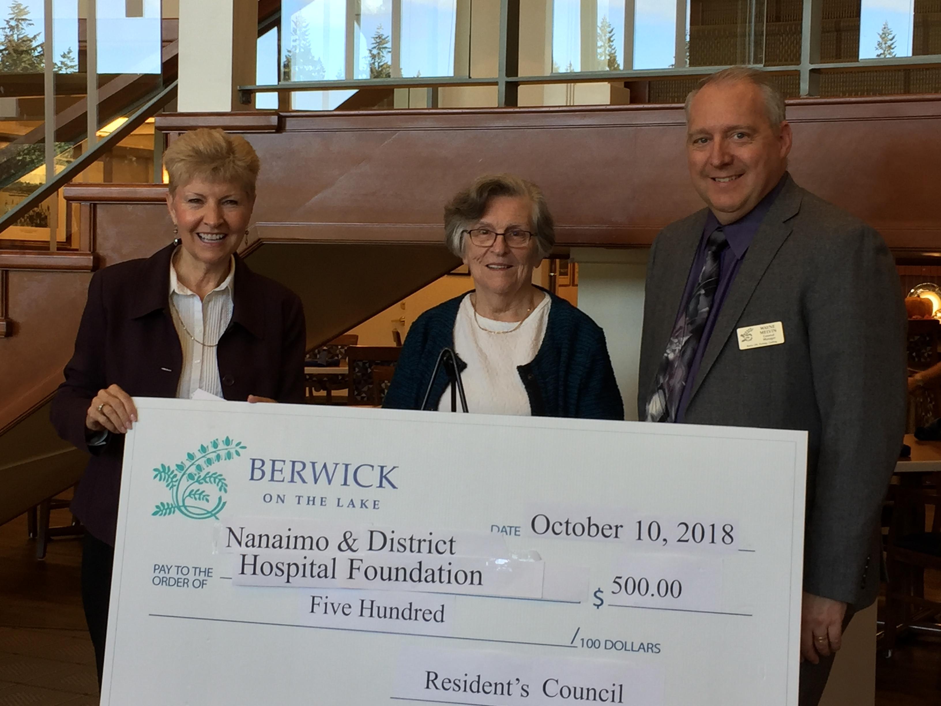Berwick on the Lake donates $500